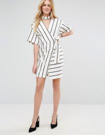 Wrap Dress with Choker Detail in Stripe by ASOS at ASOS