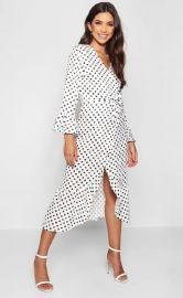 Wrap Front Polka Dot Ruffle Hem Midi Dress at Boohoo