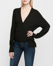 Wrap Front Side Tie Sweater at Express