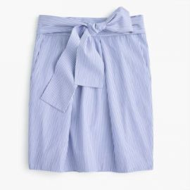 Wrap-around tie skirt in shirting stripes at J. Crew