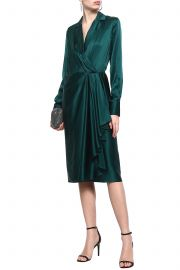 Wrap-effect draped silk-satin dress at The Outnet
