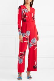 Wrap-effect floral-print crepe jumpsuit at Net A Porter