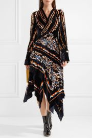 Wrap-effect printed velvet midi dress by Peter Pilotto at Net A Porter