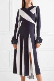 Wrap-effect striped stretch-silk midi dress by Monse at Net A Porter