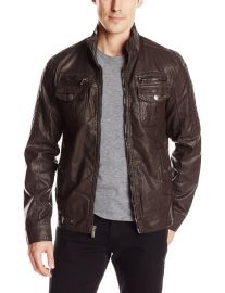 X-Ray Menand39s Faux-Leather Jacket  Amazoncom in Brown at Amazon