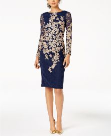 Xscape Floral-Embroidered Lace Dress at Macys