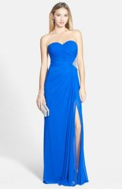 Xscape Side Cutout Embellished Strapless Gown in blue at Nordstrom