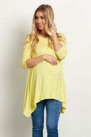 YELLOW STRIPED ASYMMETRIC 3 4 SLEEVE MATERNITY TOP at Pink Blush