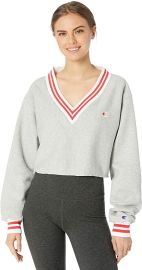 Yarn Dye Stripe Trim Reverse Weave Crop Sweatshirt by Champion at Amazon