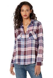 Yarn Dyed Plaid Button Up Shirt in Burgundy Multi at Amazon