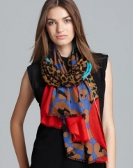 Yarnz Leopard Face Cashmere Scarf at Bloomingdales