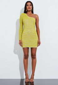 Yellow Bead Embellished One Shoulder Mini Dress by Peace + Love at Missguided