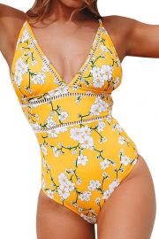 Yellow Pear Blossom Print Swimsuit by Cupshe at Amazon