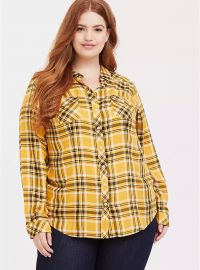 Yellow Plaid Twill Button Front Shirt by Torrid at Torrid