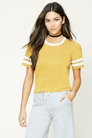 Yellow Slub Knit Varsity Stripe Tee by Forever 21 at Forever 21