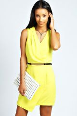 Yellow Vera Wrap Dress at Boohoo
