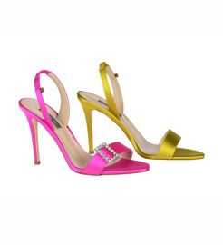 Yellow and Pink Satin Mismatched Sandals by SJP by Sarah Jessica Parker at SJP