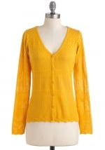 Yellow cardigan at Modcloth
