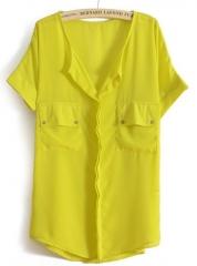 Yellow chiffon blouse at She Inside