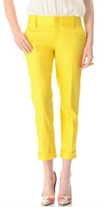 Yellow cropped pants by Alice and Olivia at Shopbop