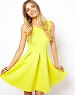 Yellow flared dress at Asos