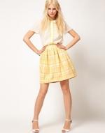 Yellow jacquard skirt like Lemons at Asos