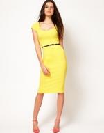 Yellow pencil dress at Asos