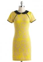 Yellow peter pan collar dress at Modcloth