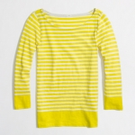 Yellow striped boatneck tee at J. Crew