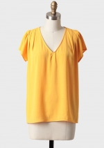 Yellow v neck blouse at Ruche