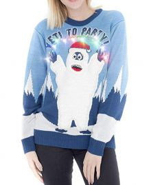 Yeti to Party Light up Blue Ugly Christmas Sweater at Amazon