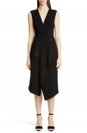 Yigal Azrou  l Leather Pocket Mechanical Stretch Midi Dress   Nordstrom at Nordstrom