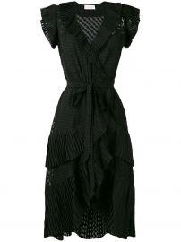ZIMMERMANN PLISSE WRAP DRESS - BLACK at Farfetch