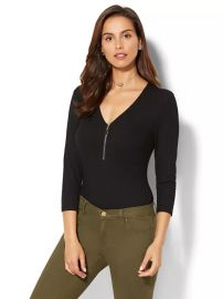 ZIP-ACCENT BODYSUIT at New York and Company