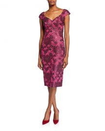 Zac Posen Metallic Floral-Jacquard Cocktail Dress at Neiman Marcus