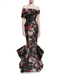 Zac Posen Off-the-Shoulder Printed Mermaid Gown at Neiman Marcus