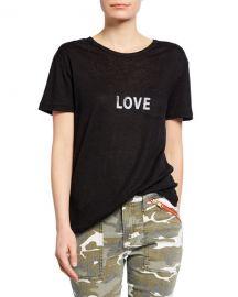 Zadig  amp  Voltaire Amber Love Short-Sleeve Linen Tee at Neiman Marcus