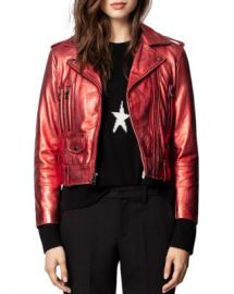 Zadig  amp  Voltaire Lenni Metallic Leather Biker Jacket  Women - Bloomingdale s at Bloomingdales