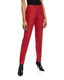 Zadig  amp  Voltaire Prune Leopard-Print Pants at Neiman Marcus