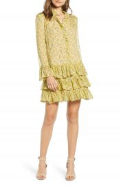 Zadig  amp  Voltaire Rebbie Anemone Tiered Ruffle Long Sleeve Babydoll Dress   Nordstrom at Nordstrom