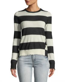 Zadig  amp  Voltaire Source Striped Cashmere Frayed Sweater at Neiman Marcus