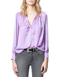 Zadig  amp  Voltaire Tink Satin Tunic Top at Neiman Marcus