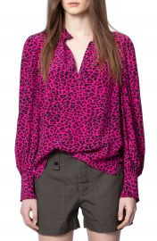 Zadig  amp  Voltaire Titus Leopard Print Blouse   Nordstrom at Nordstrom
