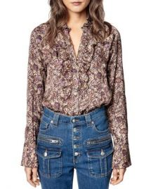 Zadig  amp  Voltaire Tuska Printed Ruffled Button Front Shirt Women - Bloomingdale s at Bloomingdales