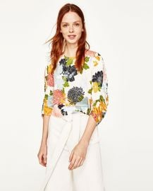 Zara Floral Print Top at Zara