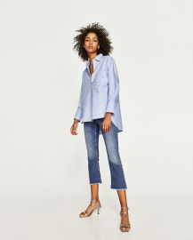 Zara Oxford Shirt with Faux Pearl Details at Zara