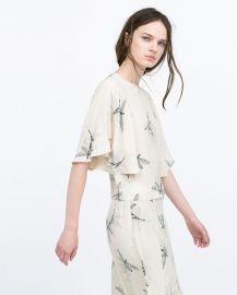 Zara Printed Top with Cape Sleeves at Zara