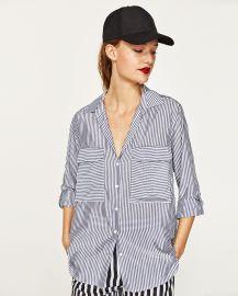 Zara Striped Blouse with Pocket at Zara
