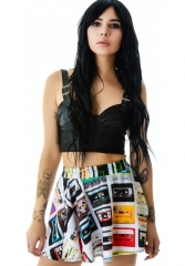 Zara Terez Cassettes Skater Skirt at Dolls Kill