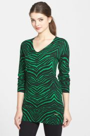 Zebra Print V-Neck Sweater Regular andamp Petite at Nordstrom Rack